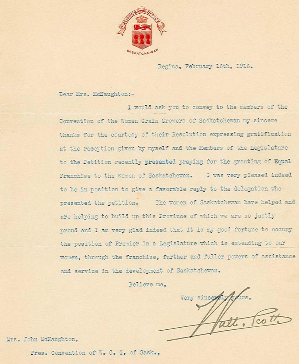 Womens suffrage in saskatchewan provincial archives of saskatchewan letter from premier walter scott regina to violet mcnaughton 16 february 1916 aiddatafo Image collections